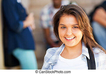 pretty middle school girl - smiling young middle school girl...