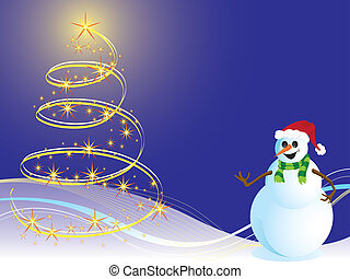 Background christmas and snowman (vector)