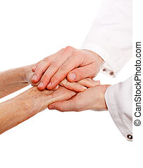 Isolated hands - Confident doctor is holding the patient...