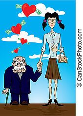 Old man and one young woman. - Vector illustration of one...