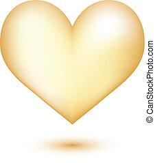 Golden heart 3D isolated on white