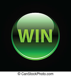 Green glossy win button sign on black