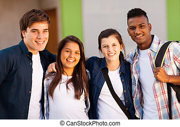 group of high school students portrait - group of cheerful...