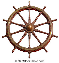 Large wooden ship wheel, isolated on white