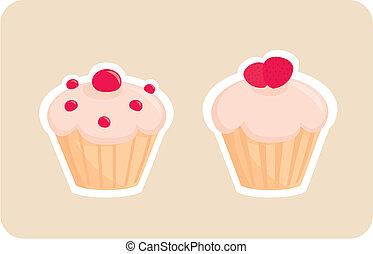 vector, mollete, Cupcake, Conjunto