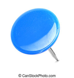 close up of a circle blue pushpin isolated on white...
