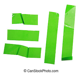Strips of masking green tape isolated on white
