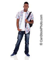 indian teenager boy with schoolbag - smiling indian teenager...
