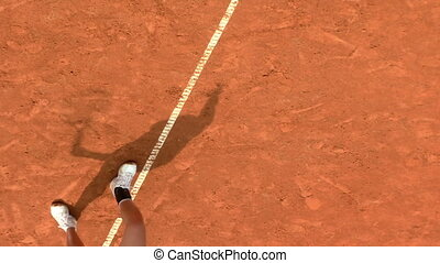 tennis shadow 02 - Shadow of a tennis player during serve...
