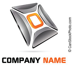 Logo 3d abstract chrome and orange for company and business name