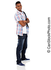 indian university student on white background - handsome...