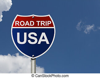 Road Trip USA - An American road interstate sign with words...