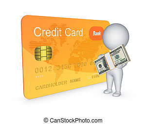 Credit card conceptIsolated on white3d rendered