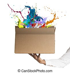 Creative box - Man holding a creative business box