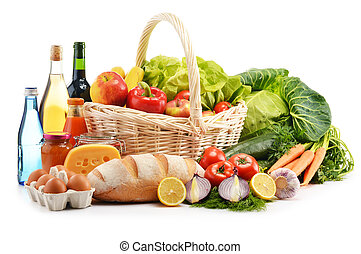 Composition with assorted grocery products isolated on white...