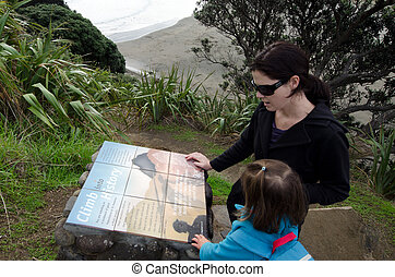 Piha - New Zealand - PIHA, NZ - JUNE 01:Mother and her...