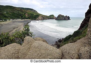 Piha - New Zealand - Aerial view of Piha beach from the top...