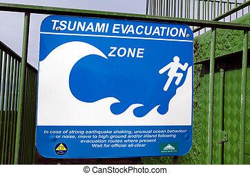Tsunami evacuation route sign - AUCKLAND,NZ - MAY 30:Tsunami...