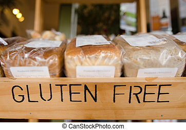 Gluten Free Products - Gluten Free loaf of breads on display...