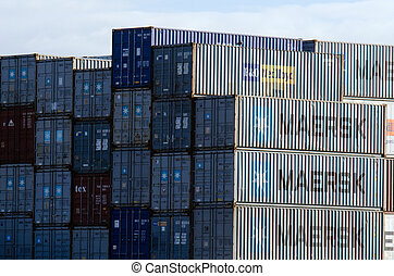 Intermodal containers - AUCKLAND,NZ - MAY 29:Stack of...
