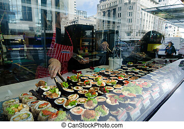 Japanese food - Sushi - AUCKLNAD, NZ - MAY 26:Sushi on...