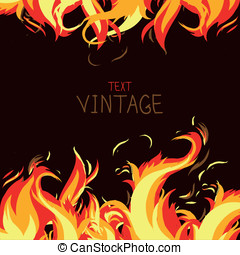 Vector frame made from fire - abstract background