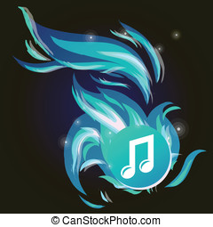 Vector music note with cold blue flame - abstract background
