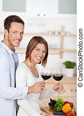 Drinking couple - Happy in love couple drinking red wine in...