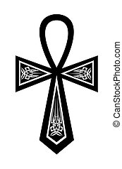 Ankh with a pattern on a white background