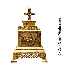 Vintage golden church utensil isolated over white