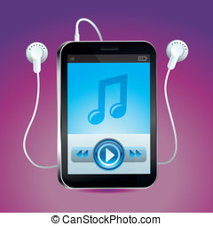 Vector music player with  play button