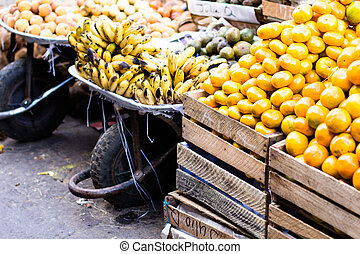 Colorful Vegetables and Fruits , marketplace Peru.