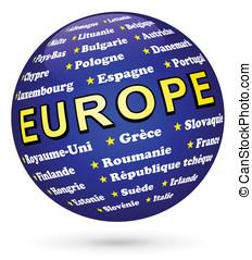 membres de l'Union européenne sur une sphère 3d