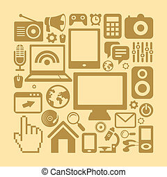 Vector set of technology icons in retro style - computers...