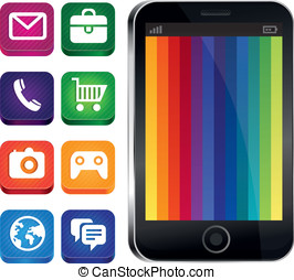 Vector touchscreen phone with rainbow wallpaper