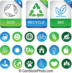 Vector ecology infographics elements - set with eco signs...