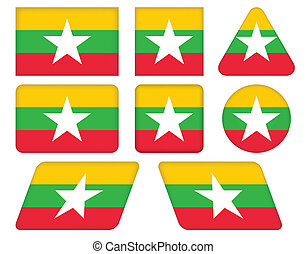 buttons with flag of Burma - set of buttons with flag of...
