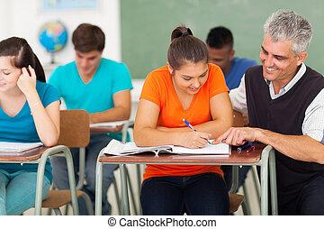 meio, envelhecido, alto, escola, professor, ajudando,...