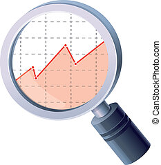 Vector analytics concept - magnifing glass and graph