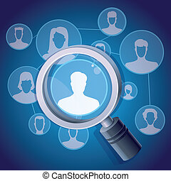 Vector social media networking concept - magnifying glass...