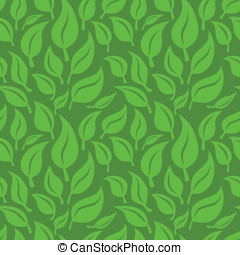 Vector seamless background with green leaves - Vector...