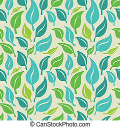 Vector seamless background with green leaves - abstract...
