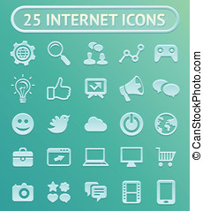 25 vector internet icons - set with internet marketing signs