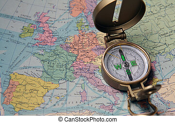 Compass On Map - A compass on the map of the European...