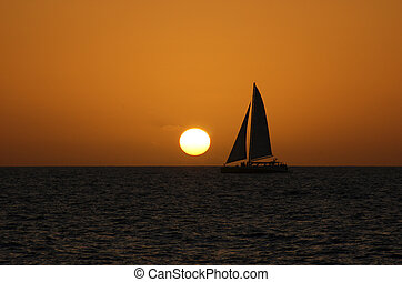 Catamaran Sunset - Catamaran sailing in the sunset in the...
