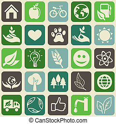 seamless pattern with ecology signs and symbols - Vector...
