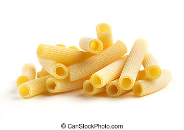 pile of raw rigatoni on white background