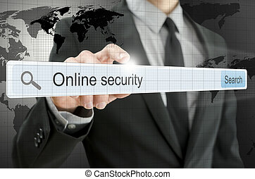 Online security written in search bar on virtual screen.