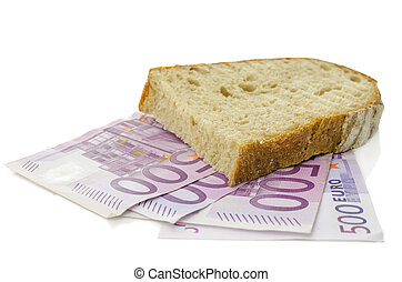 Piece of brad on money - Piece of bread on Euro banknotes....