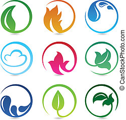 Vector design elements with nature signs - abstract icons